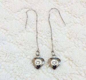 Crystal Rhinestone Heart Shape Dangle Threader earrings