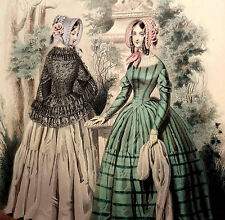 LE FOLLET 1845 Hand-Colored Fashion Plate #1264 Green Striped Dress ORIG.PRINT