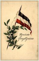 ~1910 Herzliche Pfingsgrüsse Pfingsten Gruss-Karte Maiglöckchen Patriotik Flagge