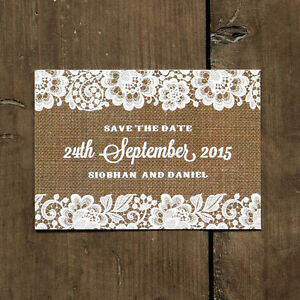 Shabby Chic Lace Wedding Save the Date or Save the Evening - Flowers Rustic