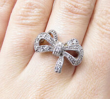 Bow Band Ring Sz 7 - Rg1970 925 Sterling Silver - White Cubic Zirconia