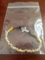 handmade unique womens gold/black glass bead cross healing stretch bracelet
