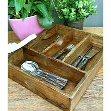 Polished Solid Natural Wooden Cutlery Storage Tray Caddy Holder