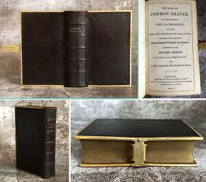 Antique 1850 Old Bible & Prayer Book Fine Brown Leather Clasp Oxford University