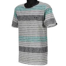 Oakley VARIEGATE T-Shirt Size M Medium White Blue Stripe Mens Slim Fit Tee
