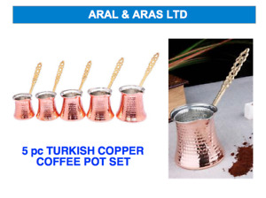 ✅ 5 pc COPPER *Turkish Coffee* Pot Set - Authentic / Traditional (5 Sizes) ✅