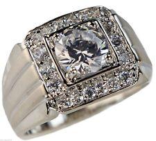 4.32 carat CZ Satin Finish 18k white gold overlay Men's ring size 11
