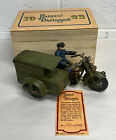 1928 Harley Davidson Parcel Post Cast Iron Motorcycle with Rider and Box 1996