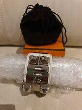 Authentic Hermes CDC White Epsom Leather Collier de Chien  PHW Bracelet Elegent