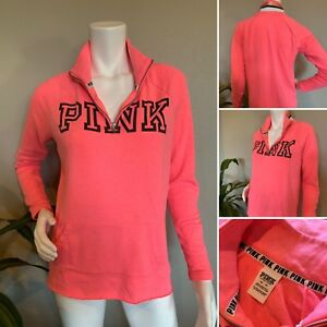 Victoria Secret PINK Women's XS   TP 1/4 Zip Pullover Spell Out Sweater Hot Pink