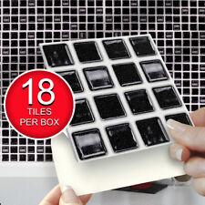 "Black Mosaic Self Adhesive Wall Tiles | Pk of 18 4""x4"" Stick On Tiles"