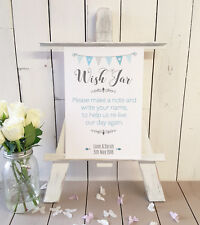 Personalised Wish jar guest book wedding sign Blue A4