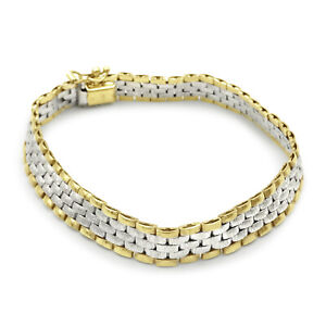 9ct Two Colour Jubille Watch Strap Style Bracelet 8mm 7.5 inch 13.8g RRP £490