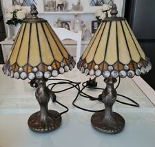 """Beautiful Pair Matching Tiffany Style Matching Bedside/Table lamps 15"""" height"""