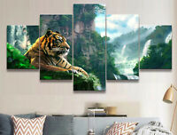 Tiger Forest Landscape 5 Pieces Canvas Wall Art Poster Print Home Decor