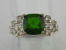 Stunning Large Russian Diopside & Cambodian Zircon 9K White Gold Ring Size K