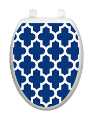 Toilet Tattoo Quartrefoil Navy Bathroom Lid Decor Vinyl Reusable 1096