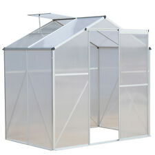 4 x6 ft Walk-in Garden Greenhouse Heavy Duty Polycarbonate Roof Aluminum Frame