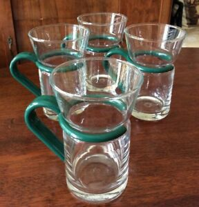 Inspiration Cappuccino Espresso  Coffee Cup Mugs ~ Glass w/Green Plastic Handle
