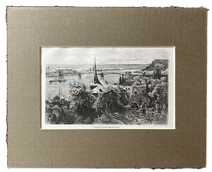 alter Kupferstich um 1870 in Passepartout Coblentz Koblenz