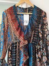 BNWT Zara Bohemian Boho Hippie 70's Patchwork Floral Ruffle Midi Dress Size L