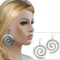 Vintage Silver Tone Raga Big Swirl Pierced Earrings