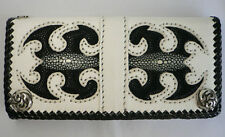 SCORPION TATTOO INLAID STINGRAY SKIN LEATHER MENS WALLET BIG TRIFOLD BIKER NEW