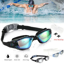 Mirror Swimming Goggles Anti-Fog Swim Glasses Uv Protection with Nose Clip Adult