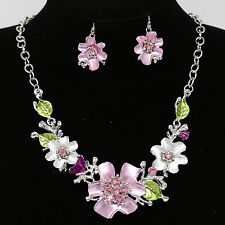 Fashion Sweet Rhinestone Flower Chain Necklace Earring Set Jewelry Accessories