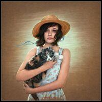 Girl Holding a Cat - Chart Counted Cross Stitch Pattern Needlework Xstitch craft