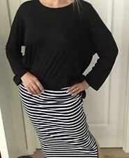 COUNTRY ROAD WOMENS SKIRT STRIPED BLUE WHITE NAVY ZIP COTTON STRETCH SZ M