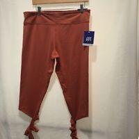 JoyLab Womens Legging Capri Pants Cognac Mid Rise Ankle Tie Hidden Pocket XL New
