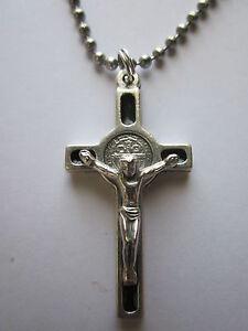 "St Benedict Crucifix Cross w/ Black Enamel 1.5"" Pendant Necklace 24"" Ball Chain"""