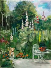 30 x 40 cm original oil painting art on stretched canvas. English cottage garden