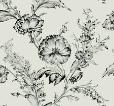 "Black and Silver Victorian Flower Metallic Wallpaper Bolt - 27"" W x 324"" L Roll"