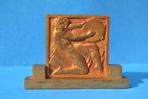 Médaille plaque socle Art Déco Marcel RENARD Faune satyre au tambourin 1930'