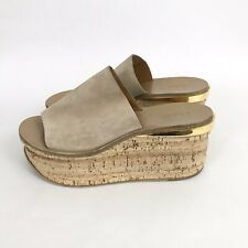 Chloe 37 7 Camille Wedge Slide Sandals Suede Beige Tan Gold Cork Platform
