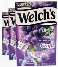 Welch's Grape ~ 6 Packets ~ Low Calorie ~ Drink Mix ~ Lot of 3