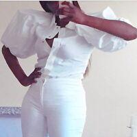 Giambattista Villa Italy Puff Sleeve Blouse Size XS Cotton White Popper Closure
