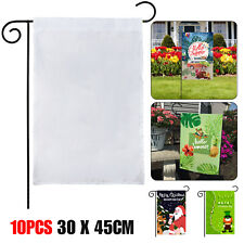 10pcs 30x45cm White Sublimation Blank Flag Polyester Garden Parade Banner Decor