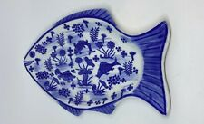 Fish Shaped Blue & White Porcelain Platter Koi Fish And Other Designs Of Flowers