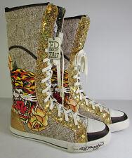 $145 Ed Hardy Womens Shin Boot Shoe Gold, US 6