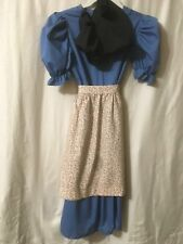 Amish Girls Blue Dress with Floral Apron & Black Bonnet Set