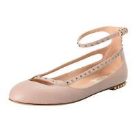 Valentino Garavani Women's Leather Studded Ballerina Flats Shoes Sz 7 8 9 10