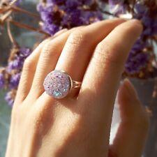Unicorn Tear Lilac Druzy Cocktail RING- Silver Jewellery- Crystal -Adjustable