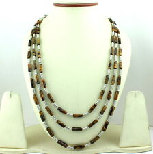 NATURAL TIGER EYES GEMSTONE BEADED BEAUTIFUL NECKLACE 61 GRAMS 4MM TUBES