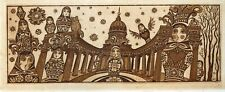 Cathedral, Cat, Doll, Original Graphic Print Ex libris Etching by Nina Kazimova