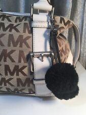 Genuine Leather Tassel Keychain Bag Purse Handbag Charm with Black Pom Poms