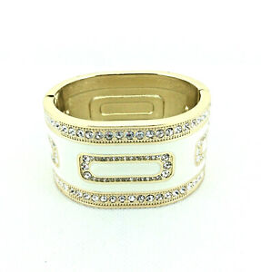 "Stunning White Enamel Runway Cuff Bangle Bracelet, 7"" or 18cm Wrist, RRP £29.99"