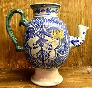 Antique Islamic Pottery Tin Glazed Blue & White & Green Pottery Pot with Damaged